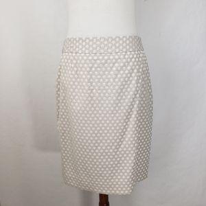 Calvin Klein Tan Polka Dot Pencil Zip Skirt Sz 12